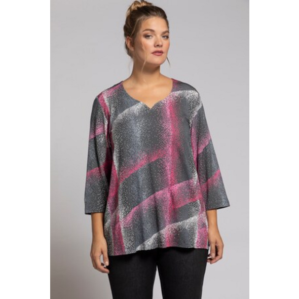 Ulla Popken Shirt, Dot-Design, 3/4-Ärmel, selection - Große Größen