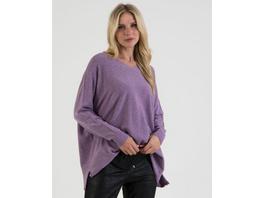 V-Neck Oversize Pullover in Mulberry