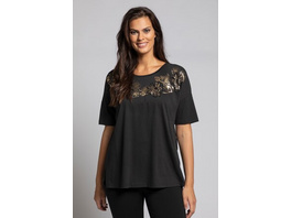 Ulla Popken T-Shirt, Stickereien, Metallic-Blüten, Relaxed, Halbarm - Große Größen